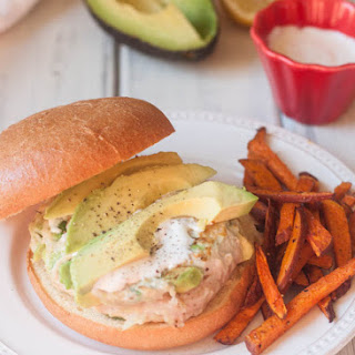Chicken Avocado Burgers with Sweet Potato Fries and Aioli