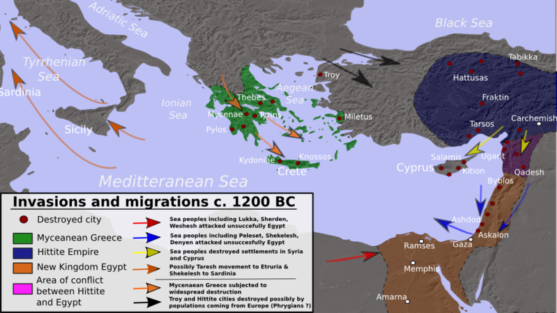 """Map depicting the possible invasion routes of different """"barbarian"""" groups during the collapse of the Bronze Age."""