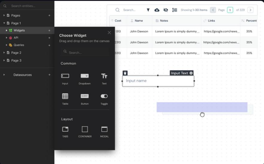 Appsmith's Builder UI design