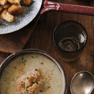 Potato and Leek Soup with Smoked Fish.