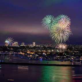 4th Of July Fireworks by Eddie Yerkish - Public Holidays July 4th ( dunes, colors, california, boats, reflections, newport, beach, seascape, landscape, nightscape, lights, holiday, bay, outdoors, fireworks, ships, july, 4th, celebrate )