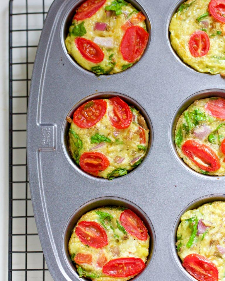 Savory Egg Muffins Pan Close Up