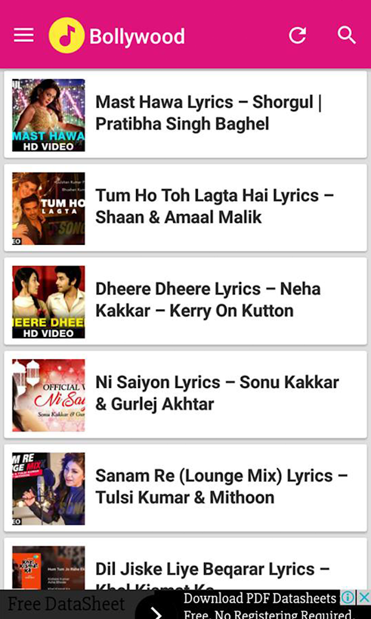 SongsPkLyrics - Hindi Lyrics- screenshot