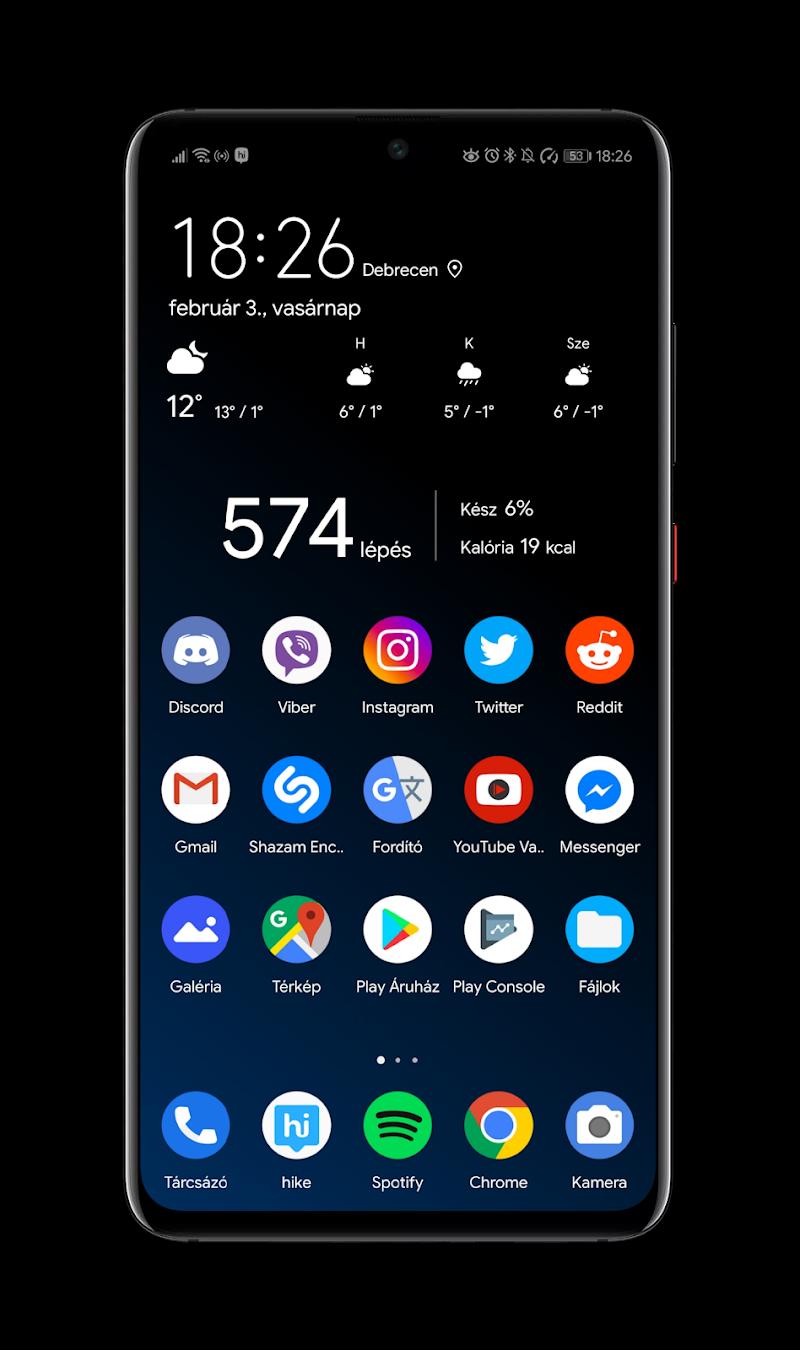 Black Pie Theme for EMUI 9 / 9.1 Huawei/Honor Screenshot 1
