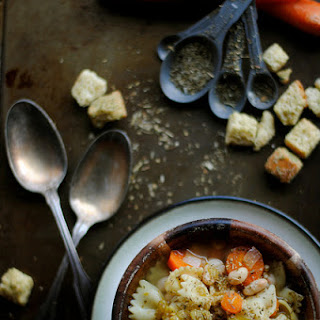 Farfalle Noodle Soup with Carrots, Beans, and Peppers Recipe