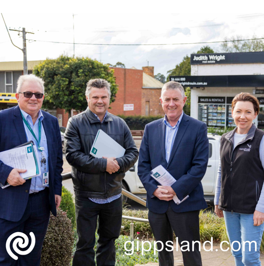 Baw Baw Shire Council CEO, Mark Dupe, Nic Foa (Head of Transport Services, Department of Transport), Mayor Cr Danny Goss and Sara Rhodes-Ward (Regional Director, Regional Roads Victoria) met in the main street of Drouin to discuss traffic congestion and road safety