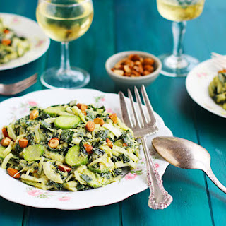Kale Cucumber Leek Salad with Roasted Leek Manchego Pesto Vinaigrette.