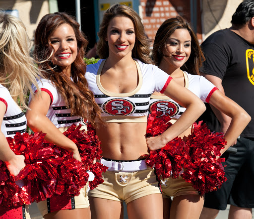 Members of the San Francisco 49ers cheerleading squad, the Gold Rush, performing.