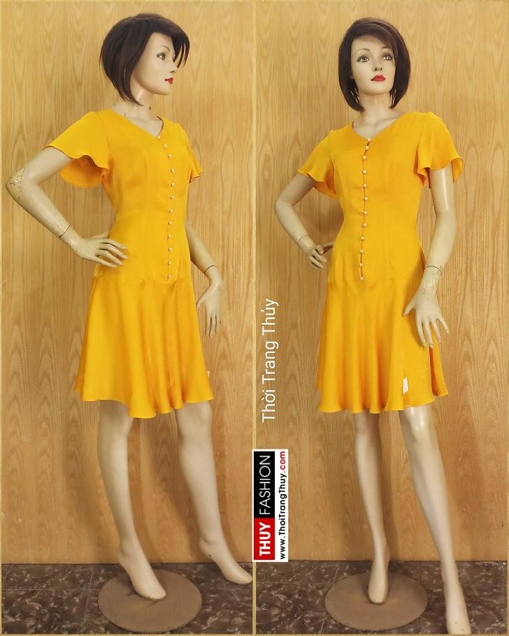 Váy xoè tay loe vải lụa màu vàng V687 thời trang thuỷ hà nội