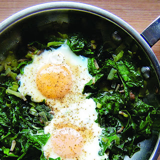 Skillet Poached Eggs with Spinach.