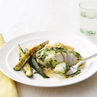 Fish Fillets with Herbs, Zucchini, and Whole-Wheat Couscous.