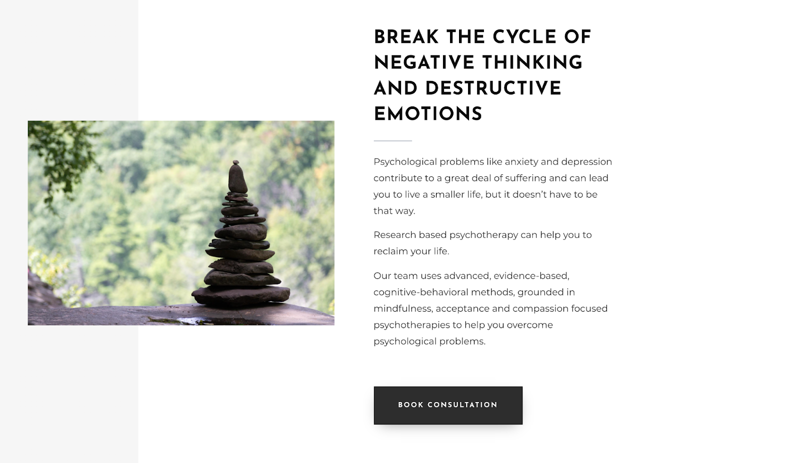 Call to action example of therapist website
