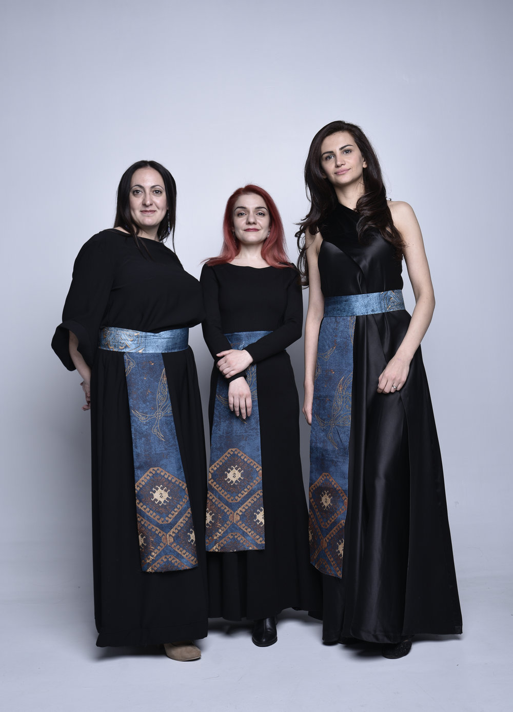 The women of the Naghash Ensemble. From left to right: soprano Hasmik  Baghdasaryan, soprano Tatevik Movsesyan, and alto Arpine Ter-Petrosyan. (Photo: David Galstyan).