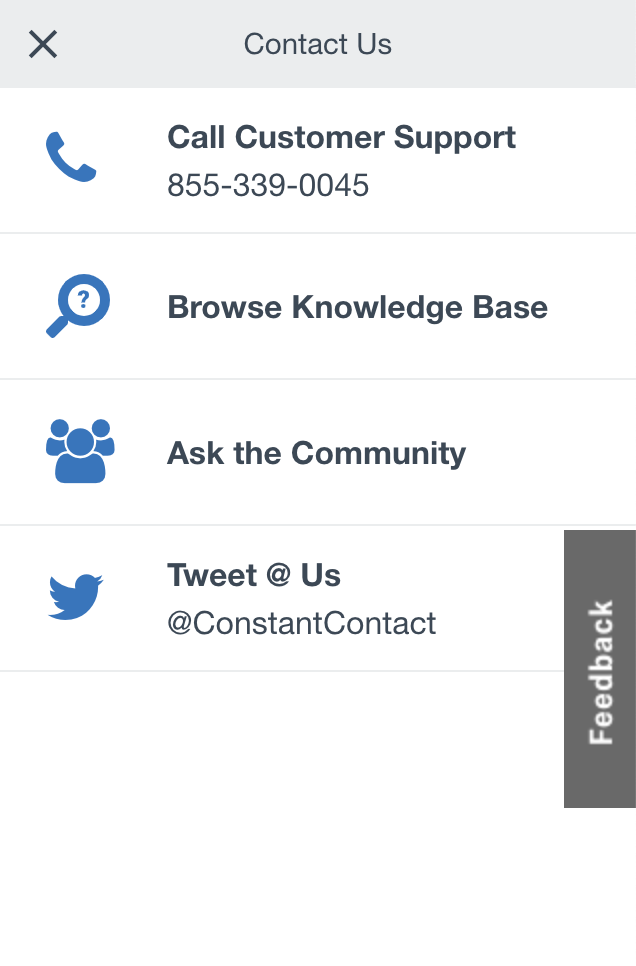 Constant contact support