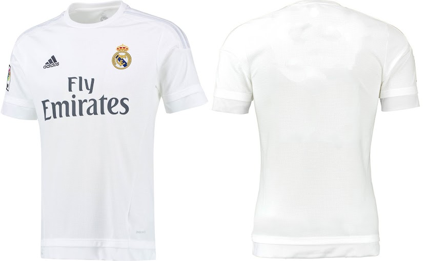 This is the new Real Madrid 2015-16 home kit which comes in simple white  colour and grey application on the shoulders with adidas stripes. 51fc02b1c