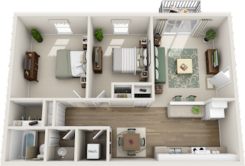 Go to Two Bed, One Bath Upgraded Floorplan page.