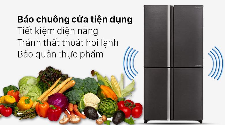 Tủ lạnh Sharp Inverter 572 lít SJ-FX640V-SL - Báo chuông cửa tiện lợi