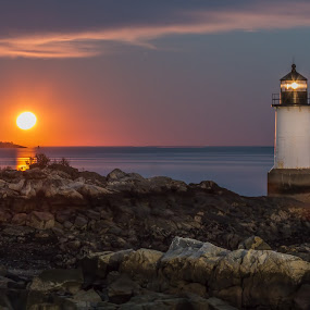 Harvest Moon. by Kathy Val - Landscapes Waterscapes ( moon, night photography, lighthouse, long exposure, seascape, nightscapes )