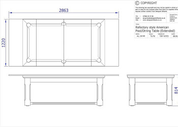 CAD drawing of pool table design