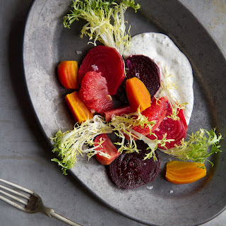 Roasted Beet Salad with Grapefruit, Frisée and Minted Crème Fraîche.