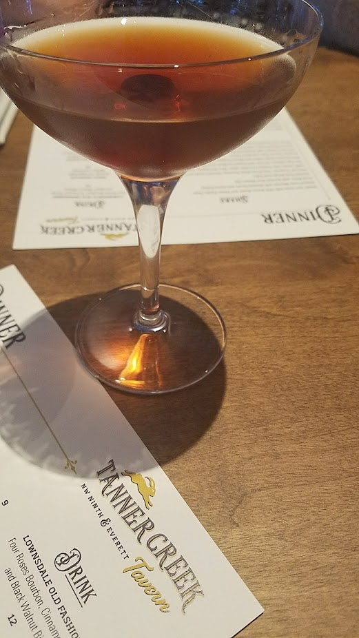 Tanner Creek Tavern Cocktail of Smoke Signals with Dickel Rye, Townshend's Smoke Tea Liqueur, Dolin Rouge Vermouth