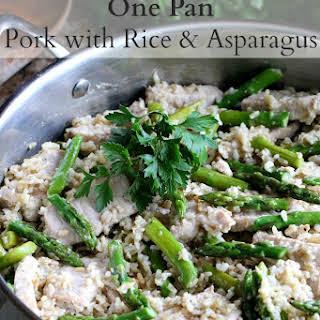 One Pan Pork with Rice & Asparagus.