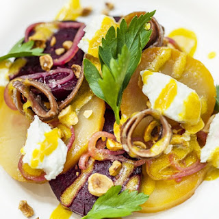 Salt-Baked Beetroot Salad with Goat'S Curd and Smoked Anchovy Recipe