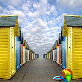 The Beach Huts, Whitby by Jackie Burrell - Digital Art Places ( beach toys, staff favorites, yorkshire, beach huts, whitby, colours,  )
