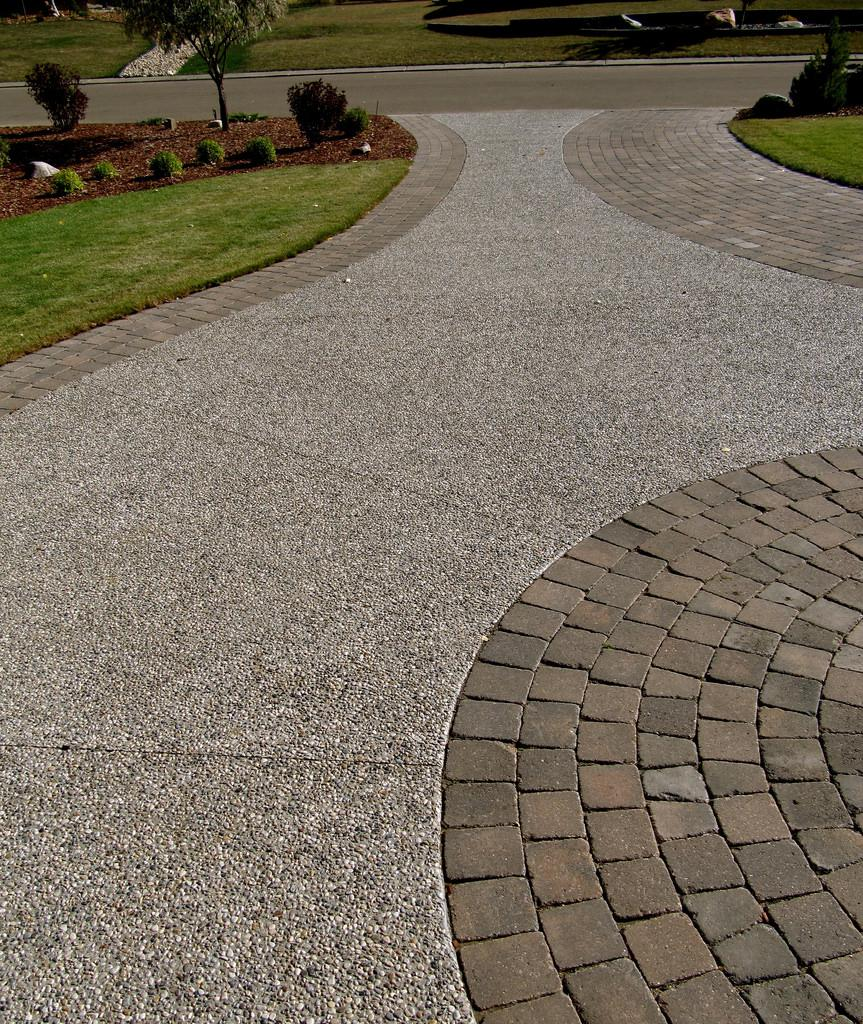 Image result for paver driveway and pebbles flickr