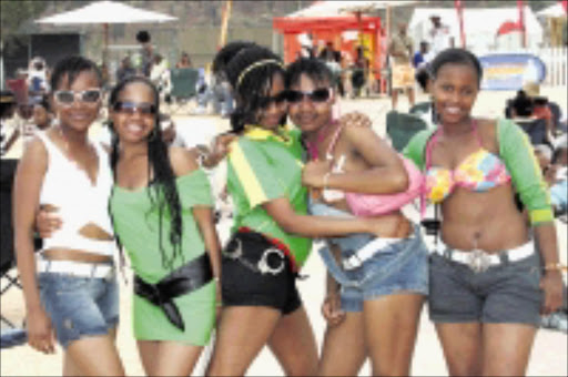heatwave: Thando Ntombela, Buhle Ntombela, Flow Danis, Palesa Mashigo and Nthabiseng Mofokeng had fun at last year's Beach Party. Left: DJ Cleo will be on hand to entertain revellers at this year's party at Coronation Park in Mogale City. Pic. Lucky Nxumalo. 29/09/2007. © Sowetan.
