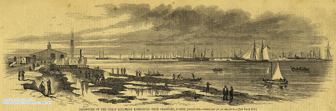 """Photo: """"Departure of the great southern expedition from Beaufort, North Carolina."""" Harper's Weekly, p. 117, date unknown."""