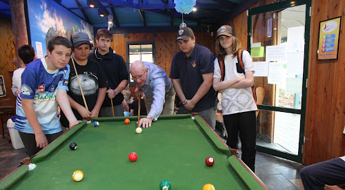 NSW Governor His Excellency David Hurley AC DSC joined in the Youth Shack pool competition on Tuesday with Zane Stanford, Kade Neave, Daniel Ayscough, Bryce Chiplin and Connor Finn.