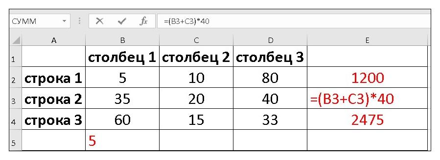 какие формулы применяют при расчете процентов в эксель