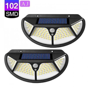 Set 4 x Lampa solara 102 LED cu senzor de miscare si lumina