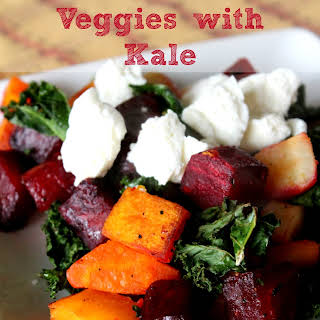 Roasted Veggies with Kale.