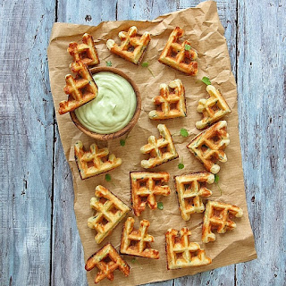 Zucchini Waffle Dippers with Avocado Sour Cream