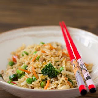 Chicken Fried Rice with Sweet Chili Sauce.