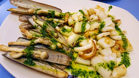 Grilled Razor Clams and Squid
