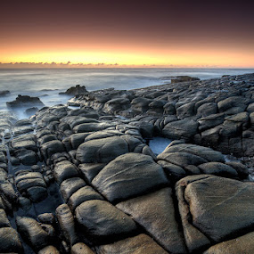 This Is Armageddon by Jason Asher - Landscapes Waterscapes ( water, sunshine coast, sand, point arkwright, coolum, scape, waterscape, waves, sea, beach, seascape, landscape, coastal, coast, sun, dawn, sunrise, rocks )