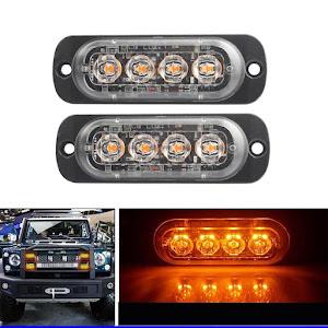 Set 2 stroboscoape auto 4 LED 12V, lumina portocalie