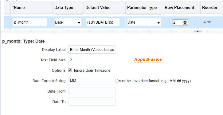 Defaulting Current Day, Month and Year as Parameter Value of