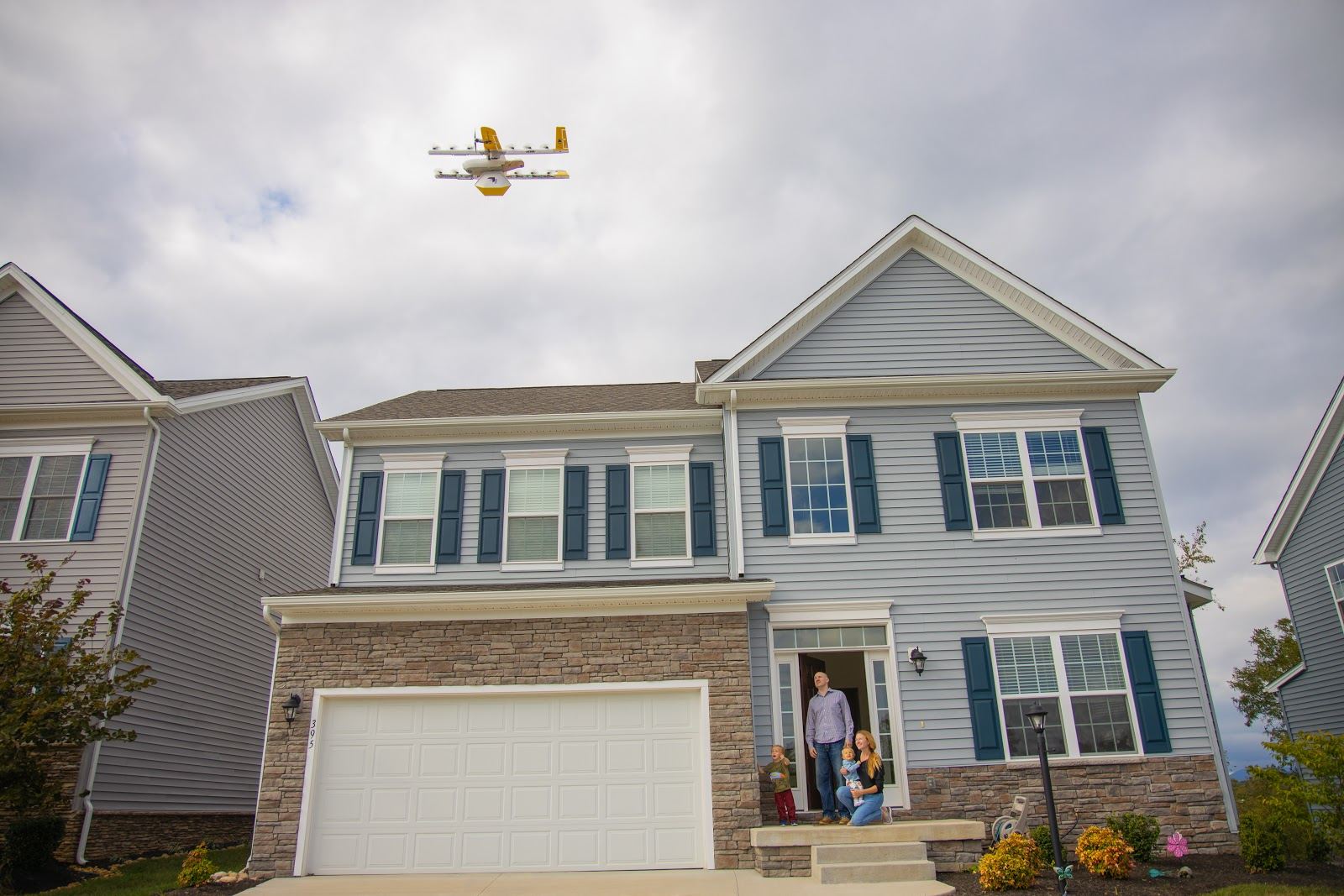 Drone delivering package to home