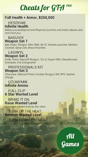 Cheats for GTA Pro