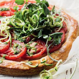 Tomato And Pesto Spelt Tart With Zucchetti Salad