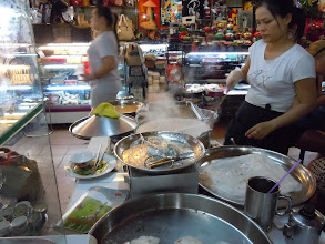 Photo: Banh cuon woman at Binh Thanh Market in Saigon. She came around counter to hug and pet on Leslie