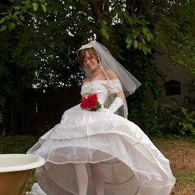 Bride inTub 01 by Carter Keith - Wedding Bride ( rock the frock, brides, wet bride, wedding dress, bathing bride, trash the dress )