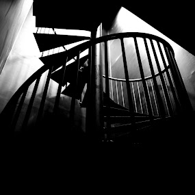 the stairs by Charles Saswinanto - Black & White Buildings & Architecture ( light, architectural detail, indoor, black and white, architecture,  )