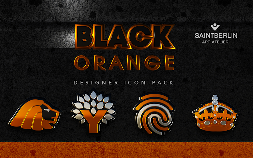 Black Orange HD Icon Pack app for Android screenshot