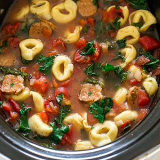 Slow Cooker Tortellini Sausage and Kale Soup.