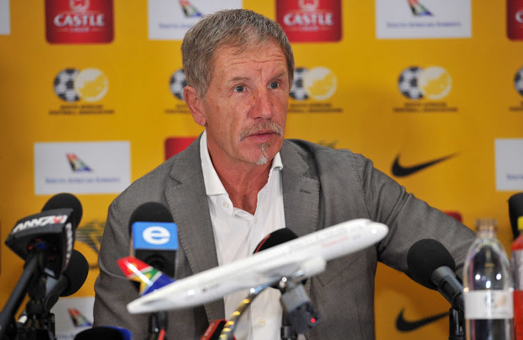 Head coach Stuart Baxter during 2017 Bafana squad announcement at FNB Stadium auditorium on 20 September 2017.